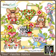 Deer Valentine Clusters :: Gotta Pixel Digital Scrapbook Store by Kathryn Estry $2.99