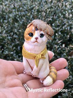 Scottish Fold Cat Animal Pal Handmade Ooak Polymerclay Sculpture by Mytic Reflections Cat Scottish Fold, Polymer Clay Creations, Neckerchiefs, Fantasy Artwork, Teddy Bear, Sculpture, Cats, Creative, Handmade