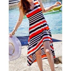 Women's Sweet V-Neck Stripes Color Block Irregular Hem Bohemian Dress, RED, ONE SIZE in Bohemian Dresses | DressLily.com