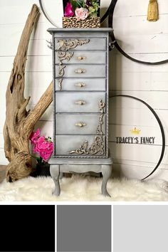 This standing jewelry box armoire makeover is perfect for a gray bedroom. Click to shop the Dixie Belle Chalk Paint colors I used! Tracey Bellion #traceysfancy Tracey's Fancy Dixie Belle Paint Company Chalk Mineral Paint Caviar Hurricane Gray Manatee Gray Light Gray Color Palette Gray Color Palette For Home Grey Jewelry Cabinet Armoire Free Standing Jewelry Armoire Wood Appliques Decorative Wood Trim On Chalk Painted Furniture How To Paint Furniture With Chalk Paint