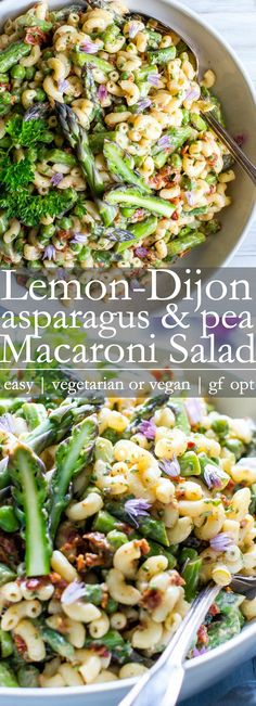 Texture, flavor, creamy and make-ahead easy, Lemon-Dijon Asparagus and Pea Macaroni Salad is packed with spring veggies and is a welcomed creamy macaroni salad to picnics and potlucks. or + - Macaroni Salad Creamy Macaroni Salad, Healthy Macaroni Salad, Vegan Macaroni Salad Recipe, Macaroni Pasta, Macaroni Recipes, Clean Eating, Healthy Eating, Vegetarian Recipes, Healthy Recipes