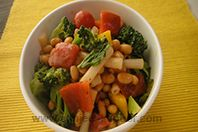 Macaroni And Bean Salad: Macaroni mixed with vegetables and served with a simple dressing.