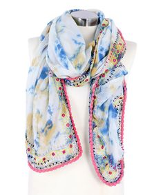 Another great find on #zulily! White & Blue Mirror Embroidered Wrap Scarf by Betsey Johnson #zulilyfinds