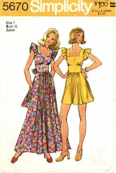 I had many tops and dresses made from this pattern. MOMSPatterns Vintage Sewing Patterns - Simplicity 5670 Vintage Sewing Pattern DARLING Pinafore Look Wide Cinched Waist Ruffle Sleeves Maxi Boho Gown, Mini Babydoll Dress Vintage Dress Patterns, Clothing Patterns, Vintage Dresses, Vintage Outfits, Coat Patterns, Fashion Patterns, Skirt Patterns, Vogue Patterns, Blouse Patterns