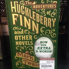 Vintage Typography - Cover of The Adventures of Huckleberry Finn and Other Novels by Mark Twain