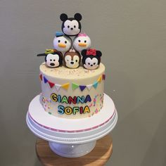 Tsum tsum cake. Visit my etsy shop to purchase tsum tsum toppers for your cake !!! @busybee0715