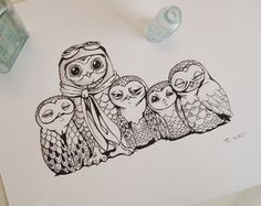 Owls Pen Ink Drawing Black & White Aviation Barn Owl Childrens Room Original Illustration. $38.00, via Etsy.