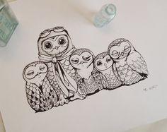 Owls Pen Ink Drawing Black & White Aviation Barn Owl Childrens Room Original Illustration. $38.00, via Etsy.