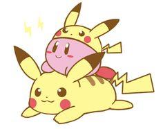 Kirby × Pikachu (by くら太, Pixiv Id 631470)