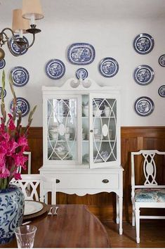 Design by Michael Penny, Photography by Donna Griffith, House and Home Magazine June 2011 I'm combining Blue and White Monday with Blue Willow China, Blue And White China, Blue China, Dark Blue, Plate Hangers, Wire Hangers, Plate Racks, White Plates, Blue Plates