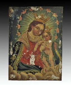 Antique Mexican Retablo - Queen of Heaven with Child