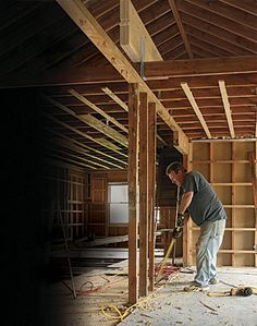 Remove One Wall and Join Two Rooms - beam in attic instead of being inserted into ceiling joists.Interesting!  (FIne Homebuilding members only article)