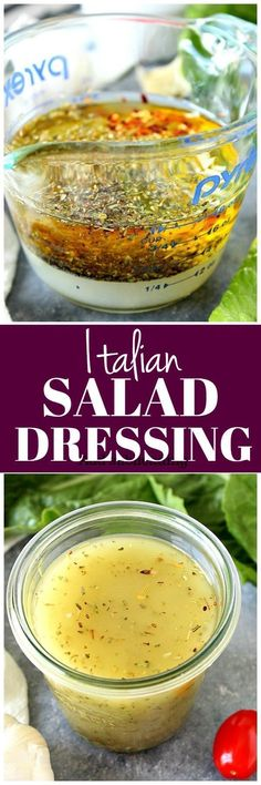 Italian Dressing Recipe – homemade salad dressing with oil, vinegar, herbs and spices. Quick and easy to make! Italian Dressing Recipe – homemade salad dressing with oil, vinegar, herbs and spices. Quick and easy to make! Fruit Salad Recipes, Salad Dressing Recipes, Italian Salad Dressings, Sweet Italian Dressing Recipe, Italian Vinaigrette Dressing Recipe, Homemade Italian Dressing, Soup Appetizers, Pasta Salad Italian, Soup And Salad