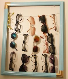 radical possibility: Boys don't make passes.How to Make a Framed Glasses Holder Sunglasses Storage, Sunglasses Holder, Diy Glasses, Frame Display, Display Ideas, Arts And Crafts, Diy Crafts, Gold Diy, Dorm Decorations