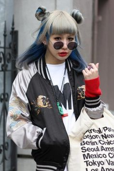 bfd1f4f9c68e Cool style grey and blue hair with bomber jacket x Harajuku Fashion