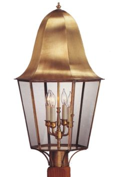 "Waylon Post Mount Copper Lantern:   3 Sizes From 19"" - 28"" H, Solid Copper or Brass Construction, Handmade, Made In USA, Choice Of Finishes and Glass, Free Shipping, Custom Options"