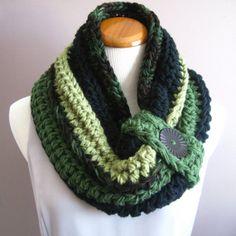 Cowl Chunky Button Bulky Crochet Cowl  Brown by CrochetCluster, $30.00