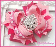 Polka Dot Hello Kitty Hair Bow with Rhinestone Crystal Kitty-hello kitty, hair bow, uk, hairbows uk, rhinestone