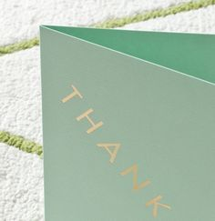 THANKS! Greetings card by Studio Sarah. Gold foil blocked on mint green.