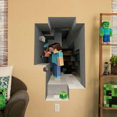 POPULAR GAMING MINECRAFT STYLE LARGE 3D KIDS BEDROOM WALL GRAPHICS ART VINYL DECAL STICKER. This wall vinyl is perfect for boys and girls minecraft inspired bedrooms or would be perfect for themed parties! | eBay!
