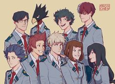 """tecochet:  """"tried to draw some of my favourite bnha babies (and ships ahah) for the first time! somebody teach me how to draw kiri's hair pls  """""""