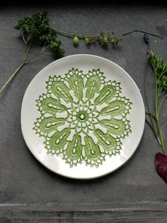 Rustic Ceramic Plate Blue  Lace Soap Dish Flat by Ceraminic