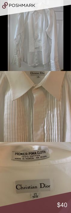 Off White Cream Chevron Check Spread Collar French Cuff Cotton Blend Dress Shirt Be Friendly In Use Shirts
