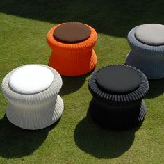 Lebello Modern Outdoor Pouf - Marshmellow Round Ottoman - modern - Patio Furniture And Outdoor Furniture - Other Metro - Lebello - Modern Outdoor Living Modern Outdoor Living, Modern Outdoor Furniture, Modern Patio, Outdoor Stools, Outdoor Pouf, Outdoor Lounge, Outdoor Learning Spaces, Stool Covers, Round Ottoman