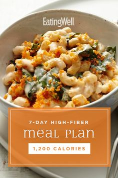 High-Fiber Meal Plan: Calories In this high-fiber meal plan, it's all planned for you to make it simpler and still delicious to get your fill every day. The meals and snacks in this plan include plenty of fruits, vegetables, whole grains, High Fiber Meal Plan, High Fiber Dinner, High Fiber Snacks, High Fiber Low Carb, High Fiber Foods, Fiber Rich Foods, High Fiber Breakfast, High Fibre, Healthy Sweet Snacks