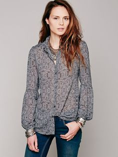 Free People Gray Etched Floral