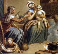 "Three generations of Scottish women, plus their pet cat. Detail from David Allan's ""Scottish Highland Family."""