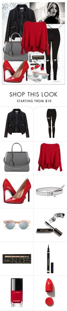 """black&red"" by aceboss ❤ liked on Polyvore featuring Zizzi, Topshop, Fendi, Chicnova Fashion, Nine West, Miu Miu, Le Specs, Bobbi Brown Cosmetics, Chanel and NARS Cosmetics"