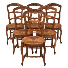 French Antique Wicker and Wood Dining Chairs