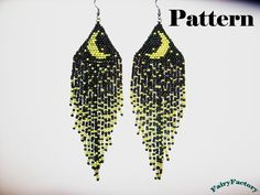 Pattern Moonlight Sonata seed beads brick stitch earrings from FairyFactory on Etsy. Seed Bead Jewelry, Seed Bead Earrings, Seed Beads, Beaded Jewelry, Beaded Bracelets, Moon Earrings, Fringe Earrings, Jewellery, Beaded Earrings Patterns