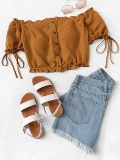 Frill Trim Button Up Off Shoulder Top -SheIn(Sheinside) - Lässiges Outfit Girls Fashion Clothes, Teen Fashion Outfits, Look Fashion, Trendy Fashion, Girl Fashion, Girl Outfits, Clothes For Women, Womens Fashion, Dress Fashion