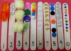 Dica para trabalhar texturas e quantidade  Great idea!!!! counting texture stiks