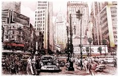 São Paulo, c.1960, pintura, acrílico e carvão sobre canvas. Marco Angeli