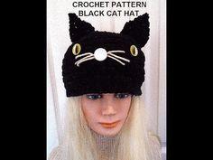 CROCHET PATTERN, BLACK CAT HAT, Halloween hat, all sizes newborn to adult - YouTube