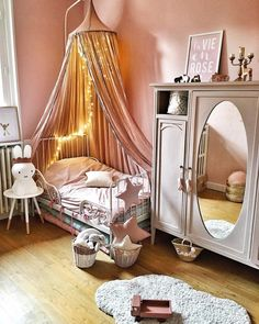 Beautiful little girls room with peach walls and matching canopy Baby Bedroom, Baby Room Decor, Girls Bedroom, Bedroom Decor, Big Girl Bedrooms, Little Girl Rooms, Design Hall, Toddler Rooms, Kids Room Design