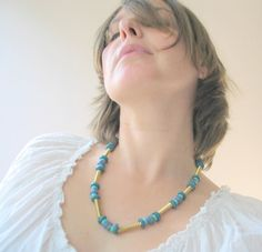 Handmade African glass beads necklaces with brass by murmurbeads