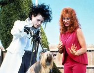 "Johnny Depp and Kathy Baker in ""Edward Scissorhands"" (1990)."