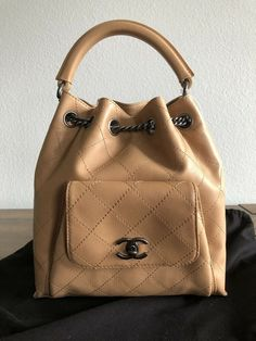 143c57314d0086 Authentic CHANEL Beige/Tan Leather Handbag Backpack NEW with tag #CHANEL  #Backpack