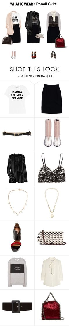 """What to Wear: Pencil Skirt"" by veronicamastalli ❤ liked on Polyvore featuring Christian Dior, Balenciaga, 3.1 Phillip Lim, Alexander Wang, H&M, Natasha Schweitzer, Melissa Joy Manning, COSTUME NATIONAL, Coach and Être Cécile"