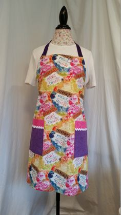 """Colorful """"Creativity is Messy"""" adjustable full-length apron with purple ties by NWCreativeKeepsakes on Etsy Purple Ties, Work Aprons, Gardening Apron, Body Types, Purpose, Creativity, Colorful, How To Wear, Etsy"""