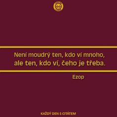 citáty - Není moudrý ten, kdo ví mnoho, ale ten Motto, Words, Quotes, Quotations, Mottos, Quote, Shut Up Quotes, Horse