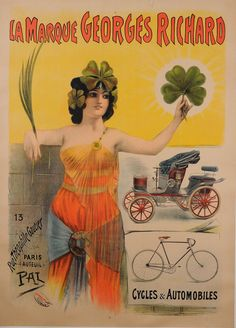 """Original Vintage Italian Poster for """"La Marque Georges Richards"""" by PAL ca.1900 #Vintage  Marvelous poster realized by Pal (Jean de Paléologue) at the turn of the century, advertising """"La Marque Georges Richards"""" a brand the manufacture cars and bicycles as the slogan says.  Jean de Paleologu (or Paleologue) (1855 – 24 November 1942) was a Romanian poster artist, painter, and illustrator, who often used Pal or PAL as his signature or logo and was active in France and the United States."""