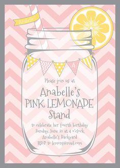 Lemonade Stand Party Invitation  Chevrons  by LemonadeDesignStudio