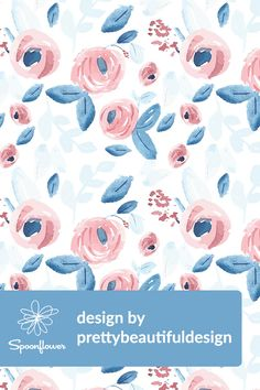 Colorful fabrics digitally printed by Spoonflower - Blue & Coral Watercolor Flowers Coral Watercolor, Watercolor Wallpaper, Pen And Watercolor, Watercolor Design, Watercolor Pattern, Watercolor Background, Watercolor Flowers, Pink And Blue Flowers, Pastel Roses