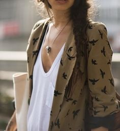blazer, braid, scoopneck tee, necklace