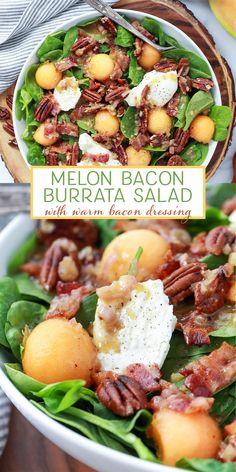 Melon Bacon Burrata Salad